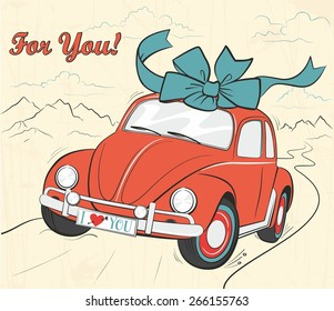 """Gentle old card in the shabby chic style with mountain landscape, lettering """"for you"""" and cartoon red car with beautiful big blue bow in the roof. Volkswagen Bug"""