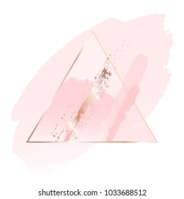 Gentle pastel colors brush strokes and gold triangular frame. Abstract composition.