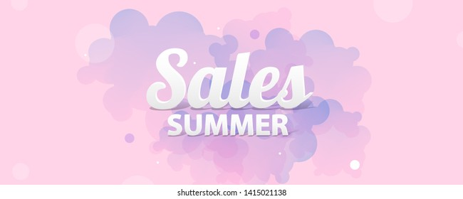 Gentle pastel pink background on summer time sale summer holiday vector Illustration lines and the clouds