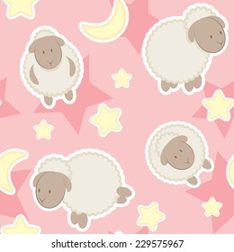 Gentle pink decorative pattern background for kid / With sheep and stars