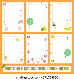 gentle romantic cards notes label tag vector template for notebook diary