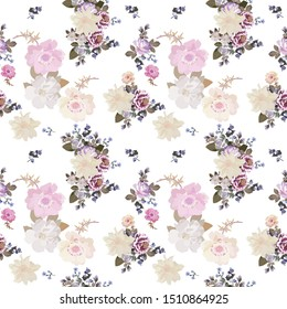 Gentle seamless natural pattern on white background. Light garden flowers, buds and leaves. Print for fabric, wallpaper.