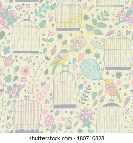 Gentle seamless pattern with cages and birds in pastel colors. Cute summer texture with elegant birdcages. Wedding floral vector background.