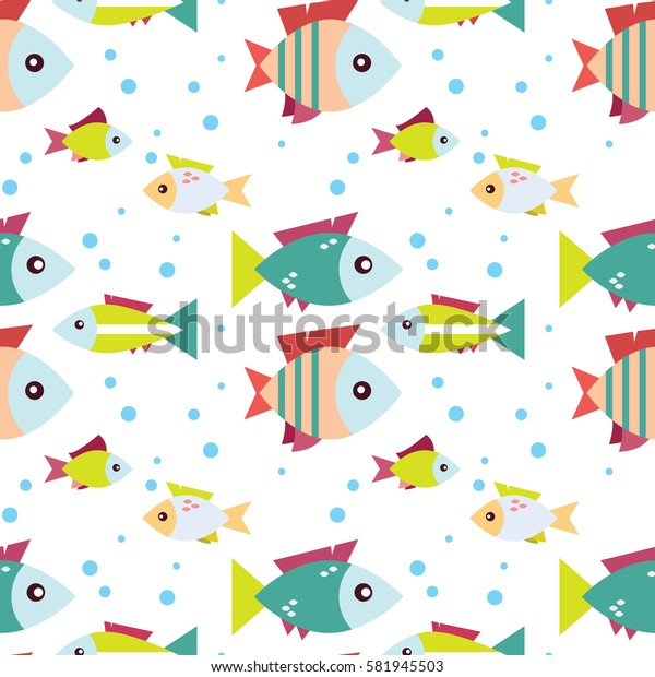 Gentle seamless pattern with the image of the fish into flat design. Children's seamless pattern with the image of cartoon fish