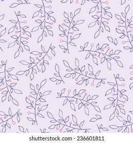 Gentle seamless pattern of purple leaves and pink flowers - watercolor vector