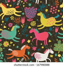 Gentle seamless texture with funny horses in flowers. Vector pattern for web-design, textile, graphic design.
