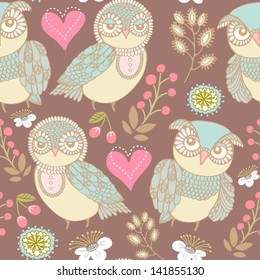 Gentle seamless texture with owls and flowers. Seamless pattern can be used for wallpaper, pattern fills, web page background,surface textures. Gorgeous seamless floral background.