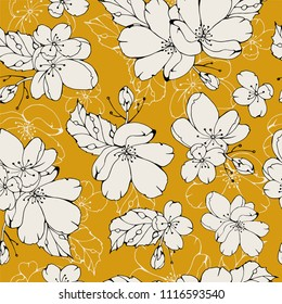 Gentle spring floral seamless pattern.