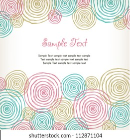 Gentle text background with colorful spiral pattern. Template for design and decoration.