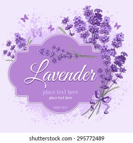 Gentle vintage label with hand drawn floral elements in engraving style - fragrant lavender. Vector illustration.