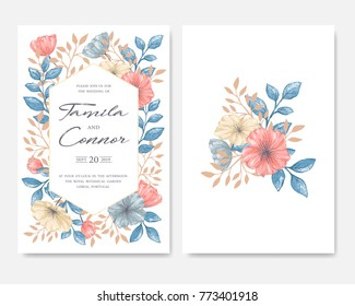 Gentle vintage set of floral greeting card with hand drawn in pastel colors garden flowers. Design template for wedding, greeting, save the date, thank you, birthday and seasonal card.
