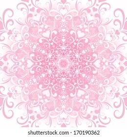 Gentle white-pink filigree valentine floral frame