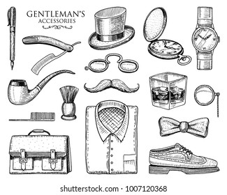 gentleman accessories. hipster or businessman, victorian era. engraved hand drawn vintage. brogues, mustache, shirt and cigar. cylinder hat, smoking pipe, straight razor, monocle, pince-nez