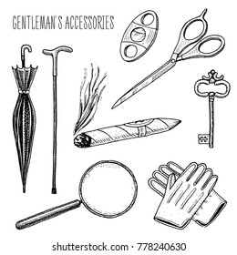 gentleman accessories. hipster or businessman, victorian era. engraved hand drawn in old vintage sketch. scissors and umbrella, walking stick, cigar and magnifier, gloves and key.
