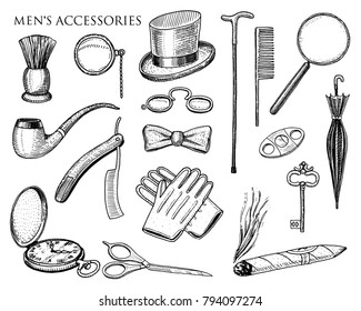 gentleman accessories. hipster or businessman, victorian era. engraved hand drawn vintage. brogues, briefcase, mustache, shirt and cigar. cylinder hat, smoking pipe, straight razor, monocle, pince-nez