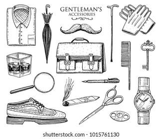 gentleman accessories set. hipster or businessman, victorian era. engraved hand drawn vintage. brogues, briefcase, shirt and cigar. cylinder hat, smoking pipe, straight razor, monocle, pince-nez