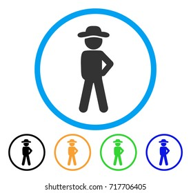 Gentleman Audacity icon. Vector illustration style is a flat iconic gentleman audacity grey rounded symbol inside light blue circle with black, green, blue, yellow color versions.