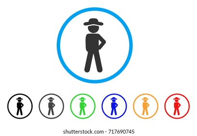 Gentleman Audacity rounded icon. Style is a flat gentleman audacity gray symbol inside light blue circle with black, gray, green, blue, red, orange versions.
