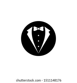 Gentleman avatar in black circle isolated on white background. bow tie with buttons and black suit or tuxedo. Party, gala evening, ball, wedding symbol.  Isolated on white. Vector flat illustration.