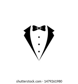 Gentleman avatar isolated on white background. bow tie with buttons and black suit or tuxedo. Party, gala evening, ball, wedding symbol.  Isolated on white. Vector flat illustration.