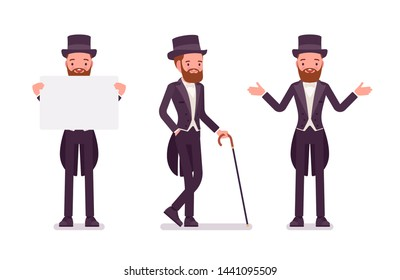 Gentleman in black tuxedo jacket. High social rank man, fashionable dandy in classic suit, cylinder hat holding advertising paper. Vector flat style cartoon illustration isolated on white background