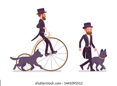 Gentleman in black tuxedo jacket on recreation walk with dog. High social rank man, fashionable dandy riding penny farthing bicycle. Vector flat style cartoon illustration isolated on white background