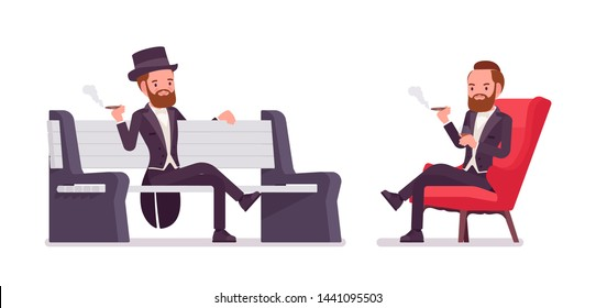 Gentleman in black tuxedo jacket sitting. High social rank man, fashionable dandy in classic suit, cylinder hat in club, park bench. Vector flat style cartoon illustration isolated on white background