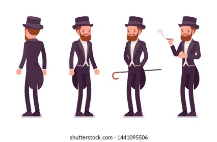 Gentleman in black tuxedo jacket with tails standing. High social rank man, fashionable dandy in classic suit and cylinder hat. Vector flat style cartoon illustration, white background, different view