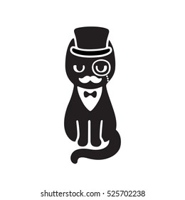 Gentleman cat with top hat and monocle. Funny cartoon vector drawing. Black and white cat with moustache wearing tuxedo and bow tie.