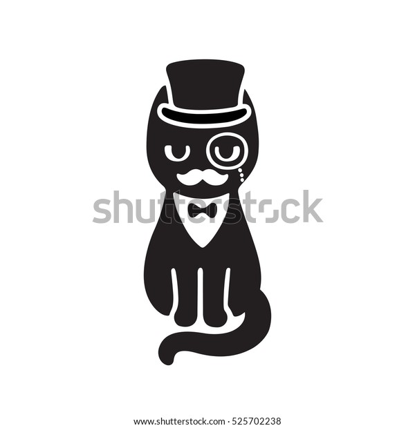 Gentleman Cat Top Hat Monocle Funny Stock Vector Royalty Free 525702238