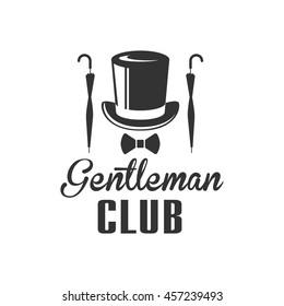 Gentleman Club Label Design With Umbrella