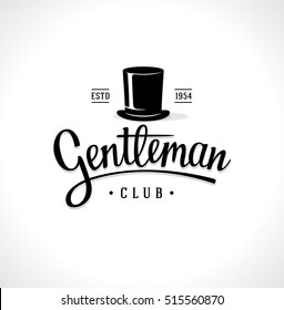 Gentleman Club Label Design. Vintage sign. Vector illustration.