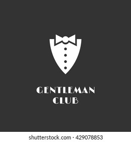 Gentleman club logo template design with shirtfront and bow tie. Vector illustration.