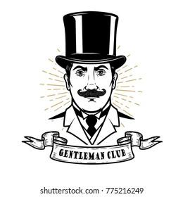 Gentleman club. Man head in vintage hat. Design element for logo, label, emblem, sign, poster, label. Vector illustration
