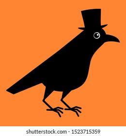 Gentleman crow, blackbird with top hat. Cute raven illustration on orange blackground.