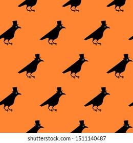 Gentleman crow seamless pattern, blackbird with top hat. Cute raven illustration on orange blackground.