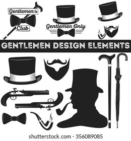 Gentleman design elements set. Vintage gentlemen club logo, gentleman label, design elements for your projects, cards, invitation, gentleman clothes