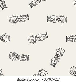 gentleman doodle seamless pattern background