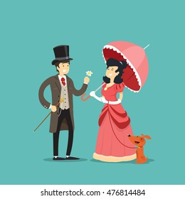 Gentleman gives a flower to a lady with a dog. Vector illustration.