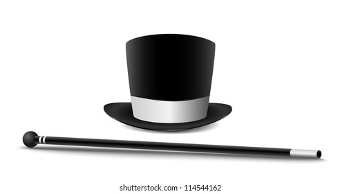 Gentleman hat and cane isolated on white.