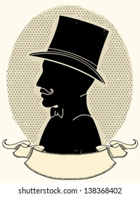 Gentleman in a a hat and mustache.Vector face black silhouette and scroll for text