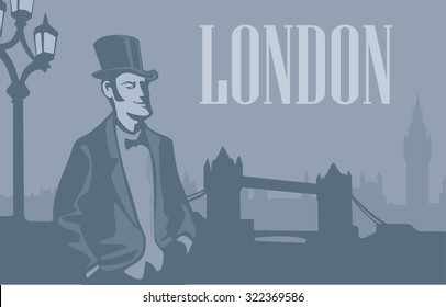 Gentleman in hat on the street. London skyline with Big Ben and Tower Bridge. Vector flat illustration. Hand drawn design element for label and poster