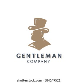 Gentleman In The Hat And Suit Bust Silhouette. Original Memorable Illustrative Graphic Symbol For Your Business. Nobleman Head Half Face Attractive Elegant Unique Sign. Vector Illustration.