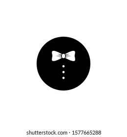 Gentleman icon isolated on white background. bow tie with buttons of  dress coat in black circle. Party, gala evening, ceremonial ball symbol.  Isolated on white. Vector flat illustration.