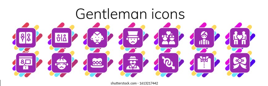 gentleman icon set. 14 filled gentleman icons. Included Wc, Profile, Man, Top hat, Gentleman, Invisible man, Couple, Gender, Bow tie icons
