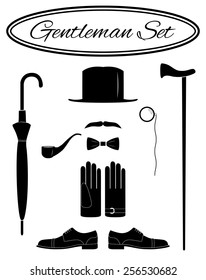 Gentleman icon set, vector illustration