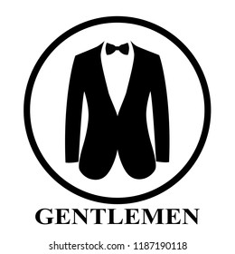 Gentleman icon. Suit icon isolated on white background. Flat design. Vector illustration
