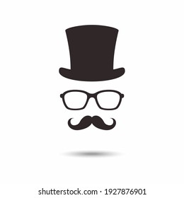 Gentleman icon. Unknown man with a mustache in the hat, glasses.