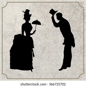 Gentleman and Lady black and white silhouette. Symbolic vintage style, vector