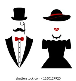 Gentleman and lady icon isolated on white background. Vector illustration